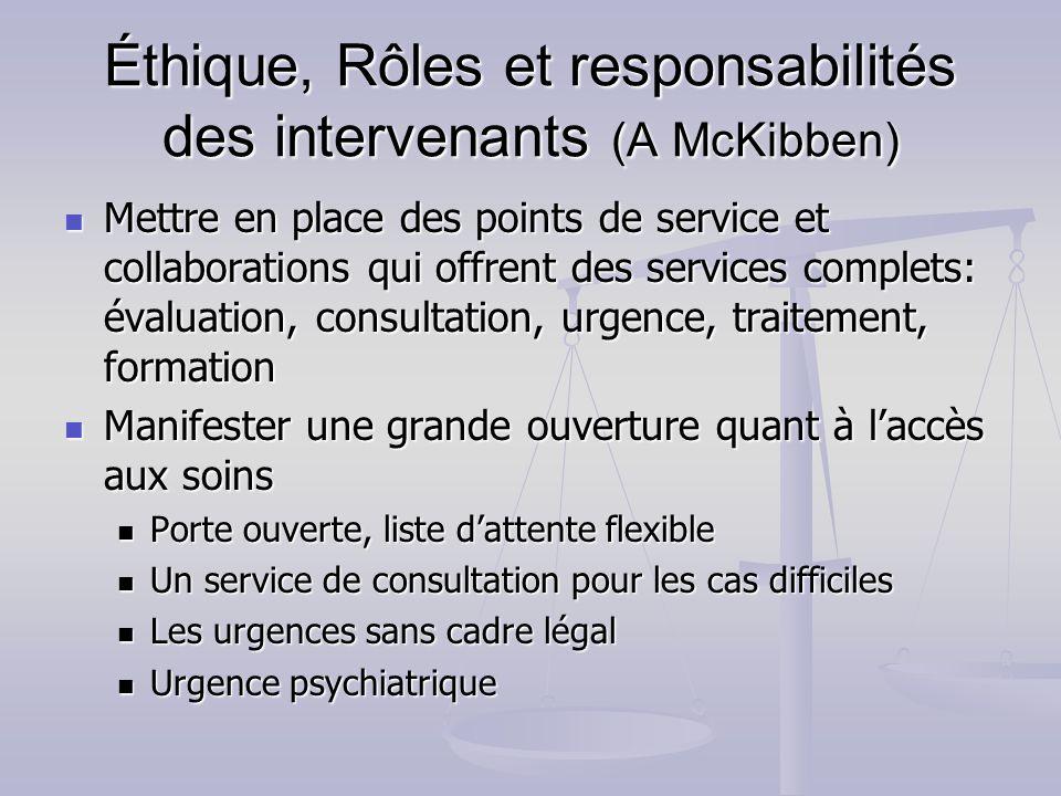 Éthique, Rôles et responsabilités des intervenants (A McKibben)