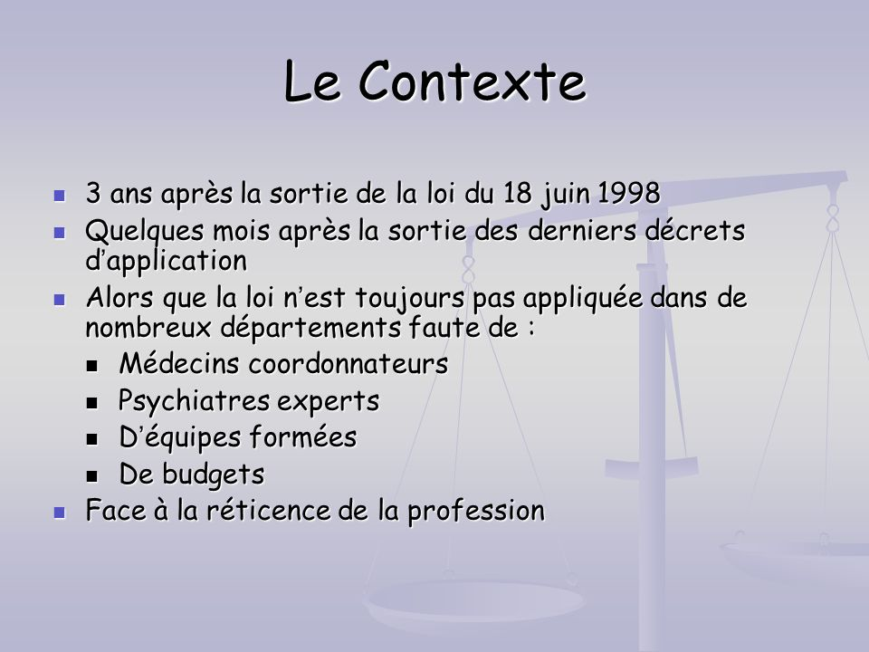 Le Contexte 3 ans après la sortie de la loi du 18 juin 1998