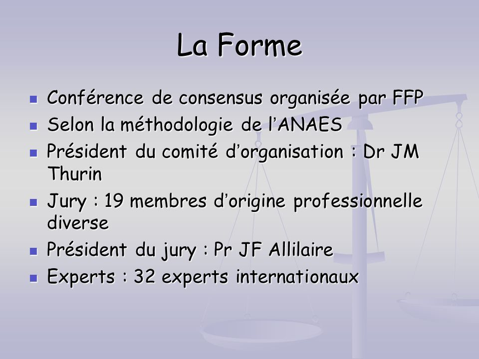 La Forme Conférence de consensus organisée par FFP