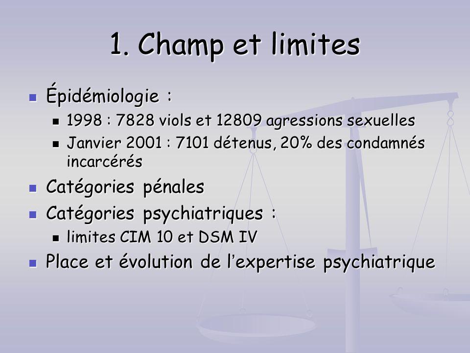 1. Champ et limites Épidémiologie : Catégories pénales