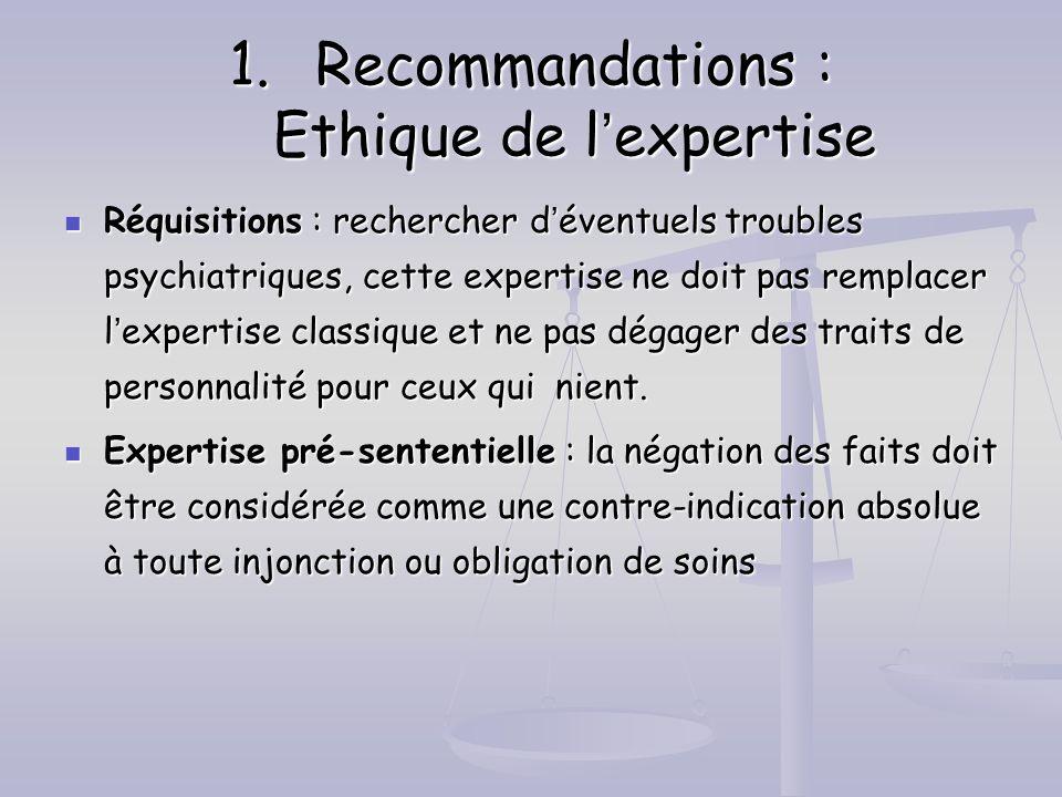 Recommandations : Ethique de l'expertise