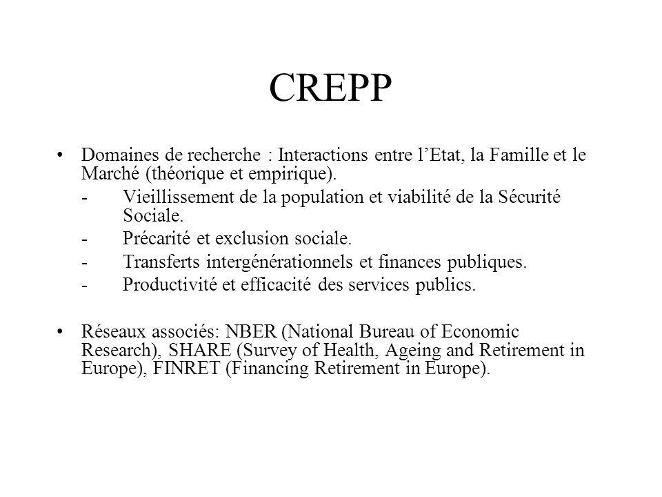 CREPP Domaines de recherche : Interactions entre l'Etat, la Famille et le Marché (théorique et empirique).