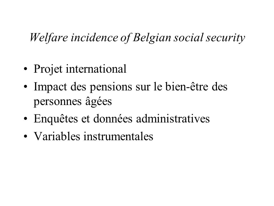 Welfare incidence of Belgian social security