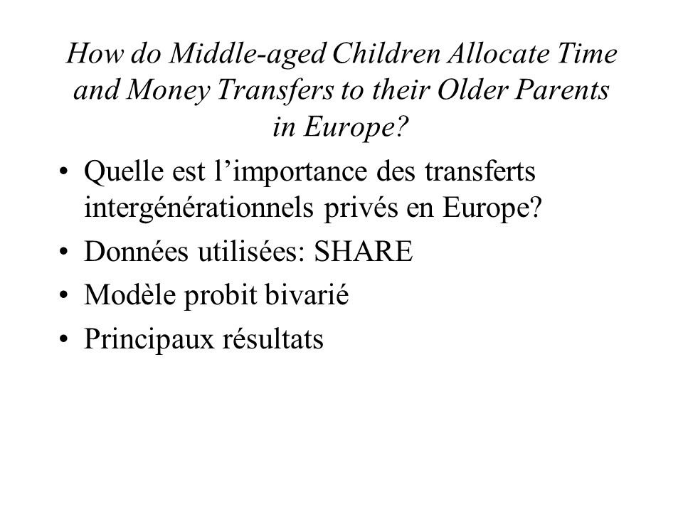 How do Middle-aged Children Allocate Time and Money Transfers to their Older Parents in Europe