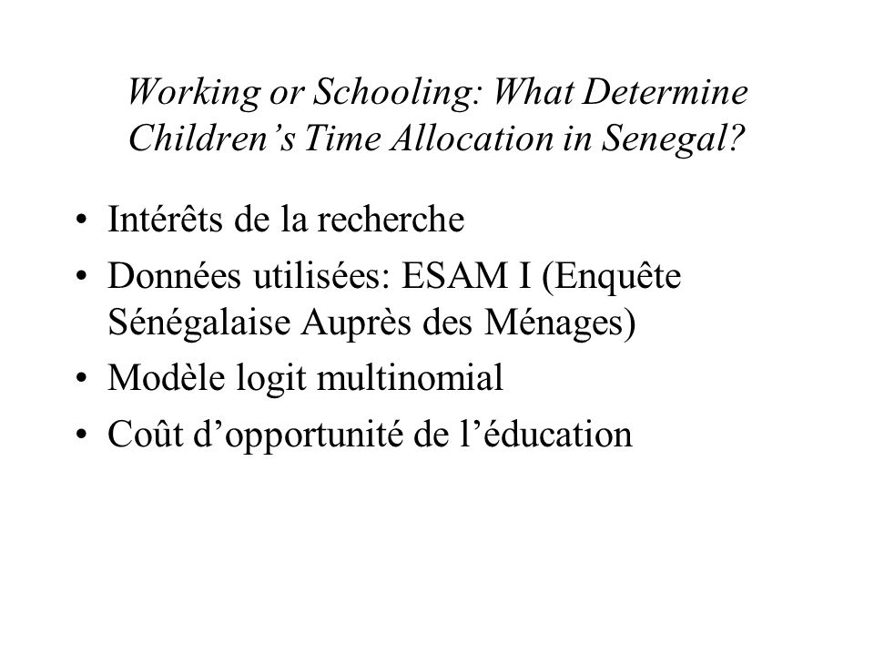 Working or Schooling: What Determine Children's Time Allocation in Senegal