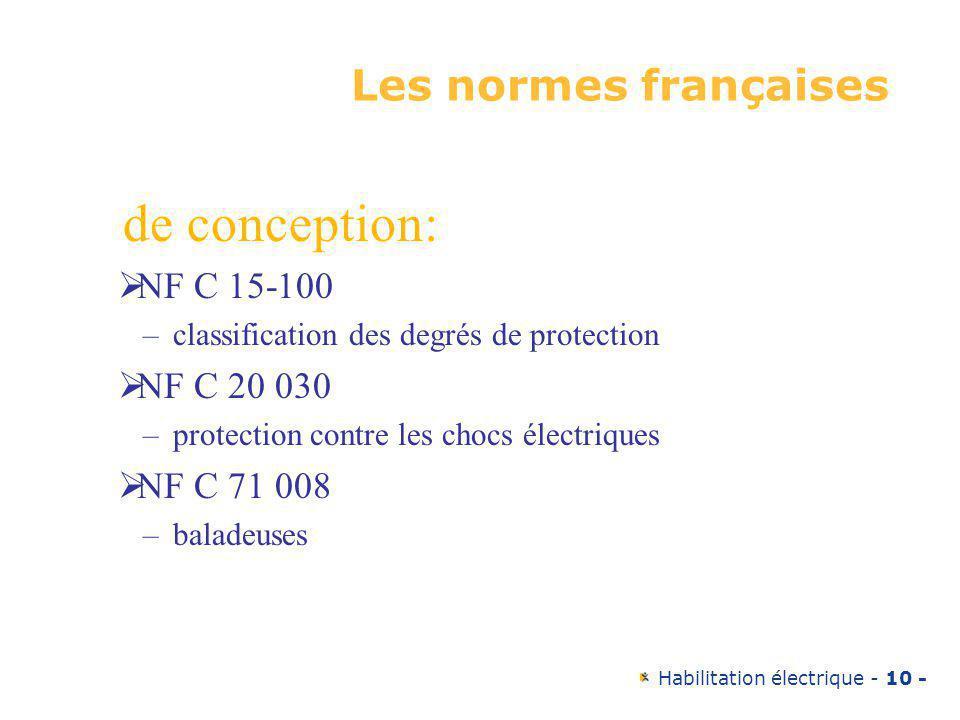 de conception: Les normes françaises NF C 15-100 NF C 20 030