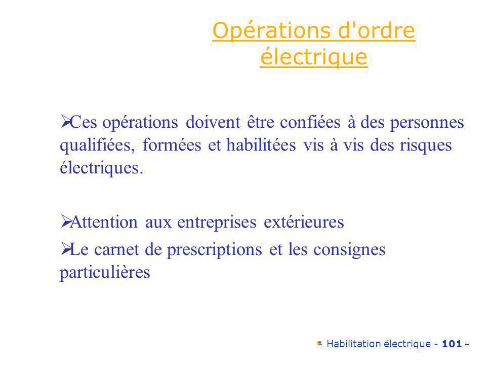 Opérations d ordre électrique