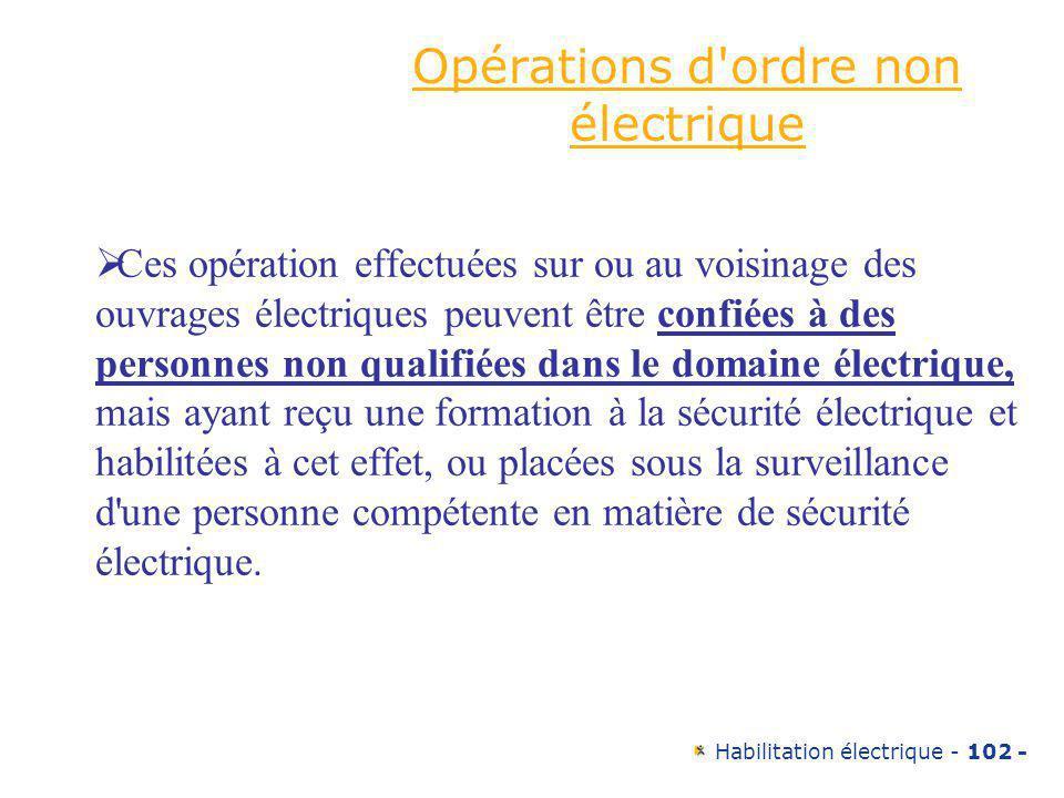Opérations d ordre non électrique