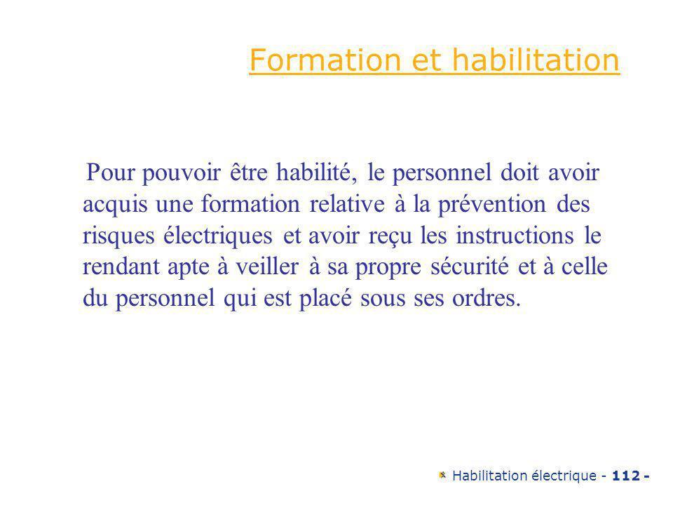 Formation et habilitation