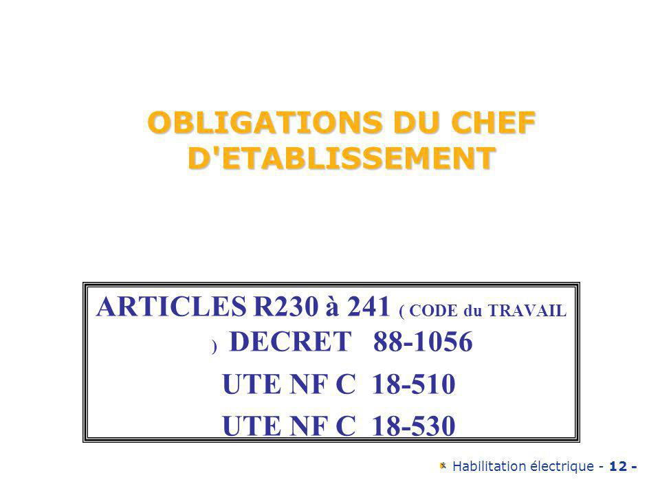 OBLIGATIONS DU CHEF D ETABLISSEMENT