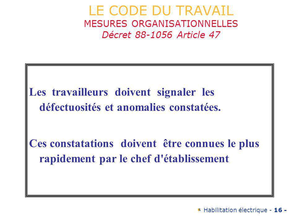 LE CODE DU TRAVAIL MESURES ORGANISATIONNELLES Décret 88-1056 Article 47