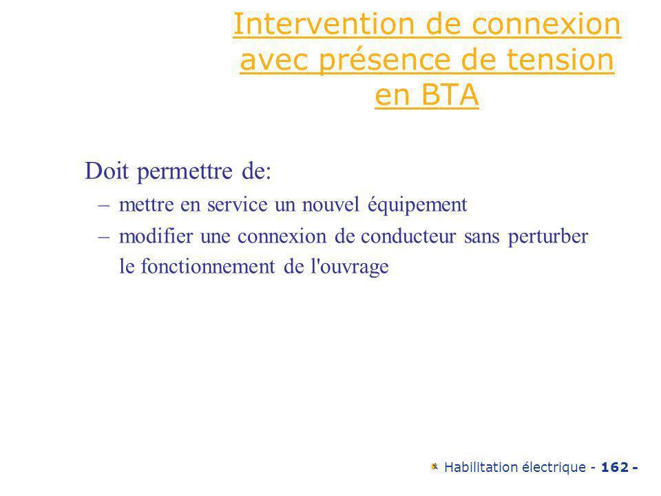 Intervention de connexion avec présence de tension en BTA
