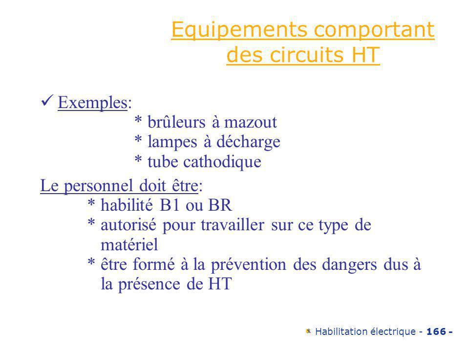 Equipements comportant des circuits HT