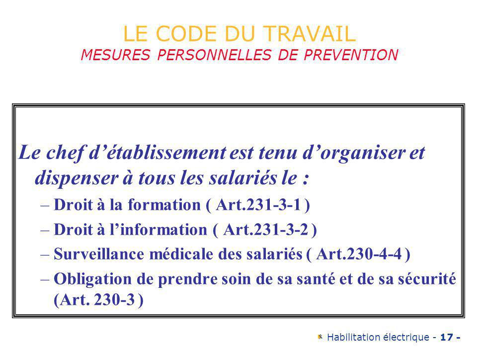 LE CODE DU TRAVAIL MESURES PERSONNELLES DE PREVENTION