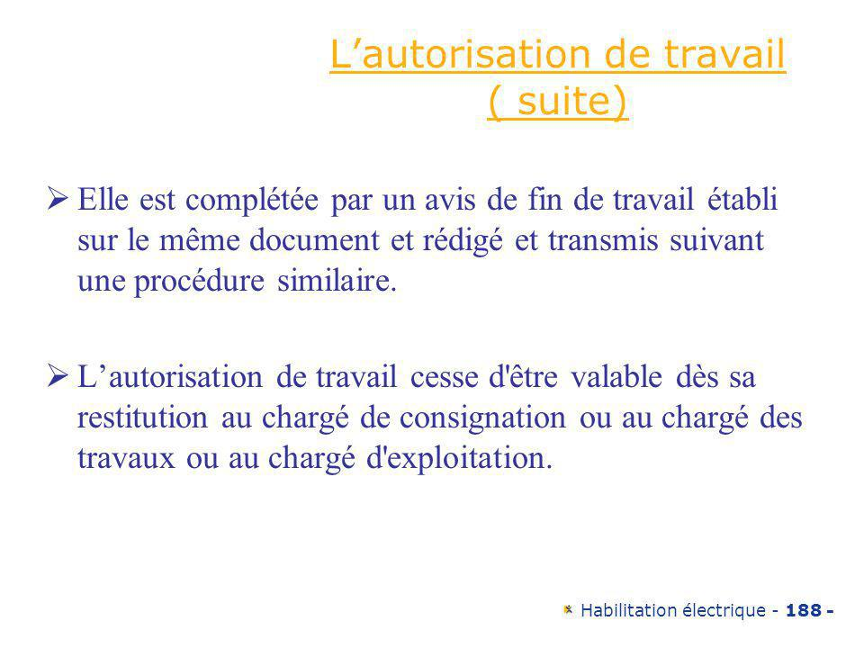 L'autorisation de travail ( suite)