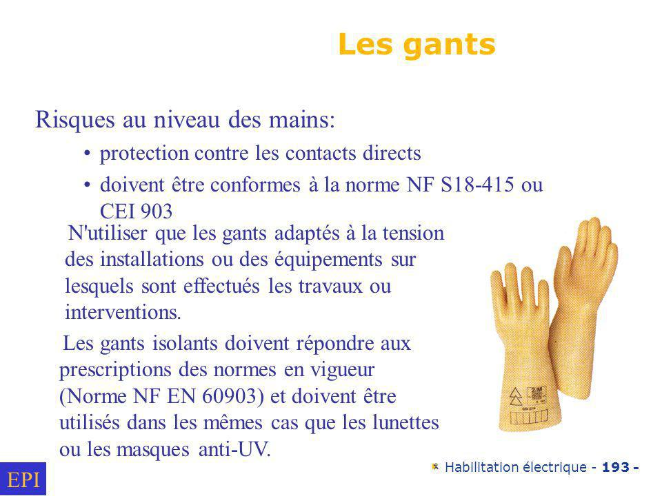 Les gants Risques au niveau des mains: