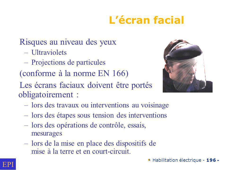 L'écran facial Risques au niveau des yeux (conforme à la norme EN 166)