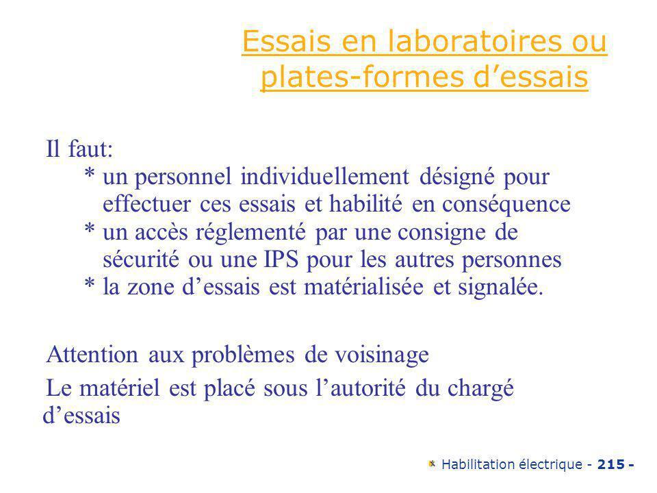 Essais en laboratoires ou plates-formes d'essais