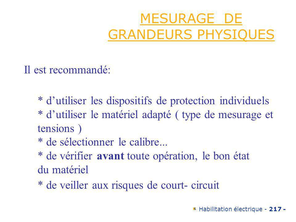 MESURAGE DE GRANDEURS PHYSIQUES
