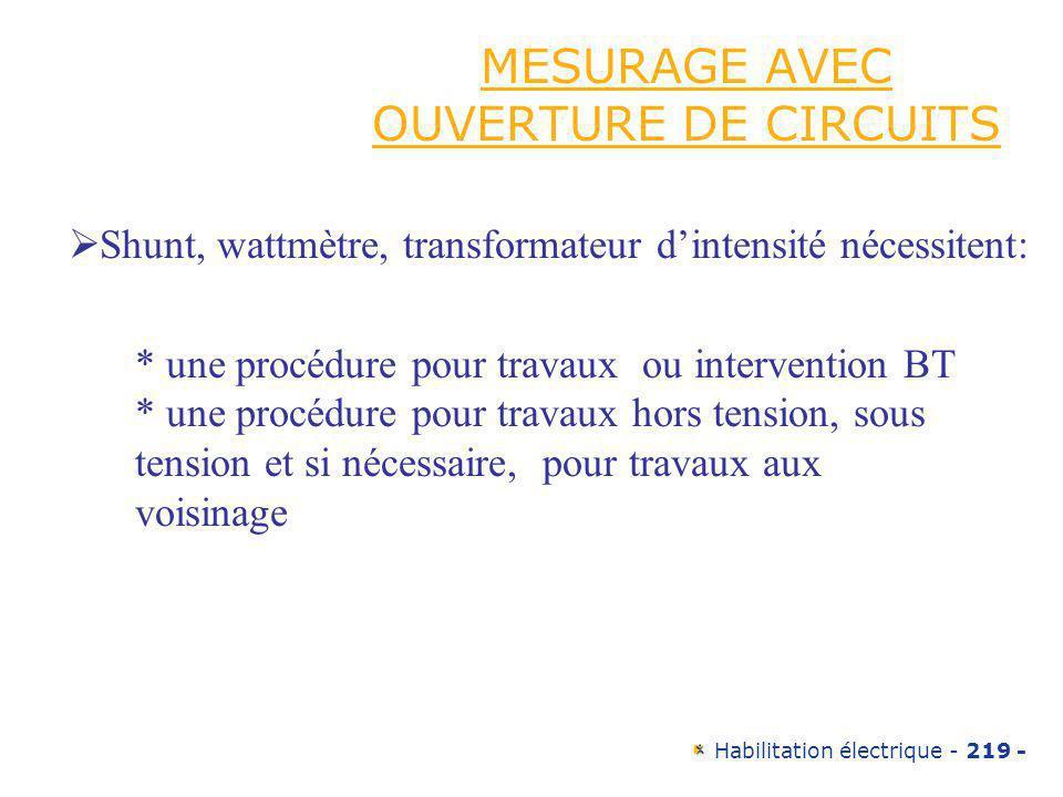 MESURAGE AVEC OUVERTURE DE CIRCUITS