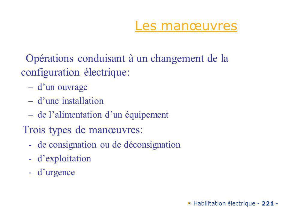 Opérations conduisant à un changement de la configuration électrique: