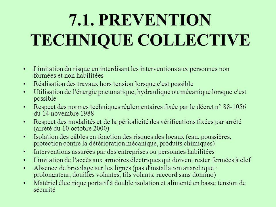 7.1. PREVENTION TECHNIQUE COLLECTIVE