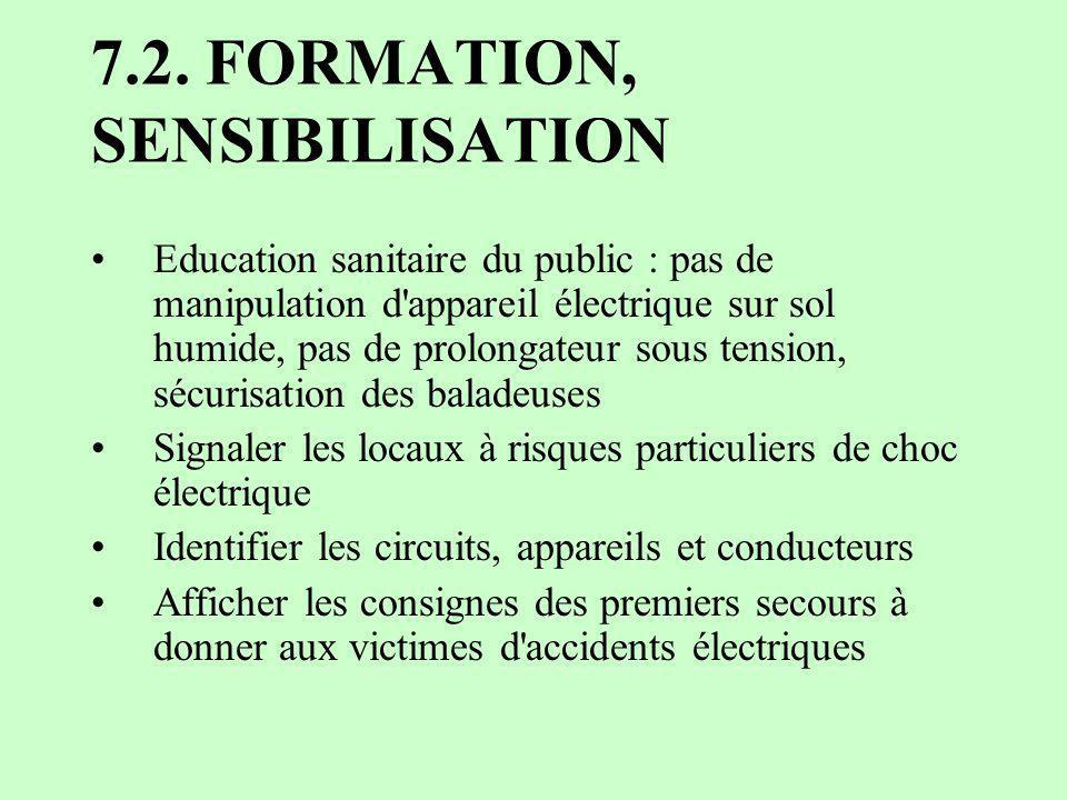 7.2. FORMATION, SENSIBILISATION