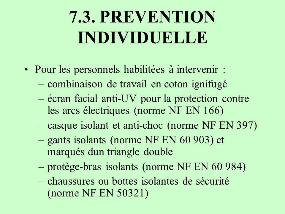 7.3. PREVENTION INDIVIDUELLE