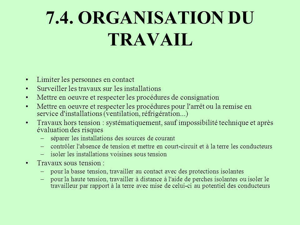 7.4. ORGANISATION DU TRAVAIL