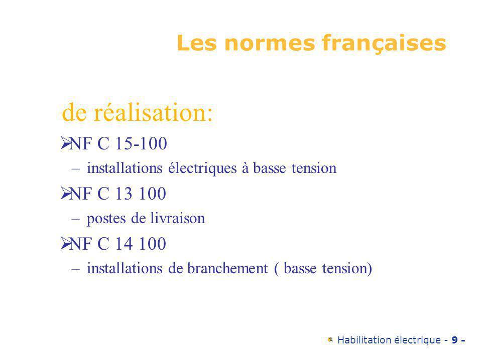 de réalisation: Les normes françaises NF C 15-100 NF C 13 100