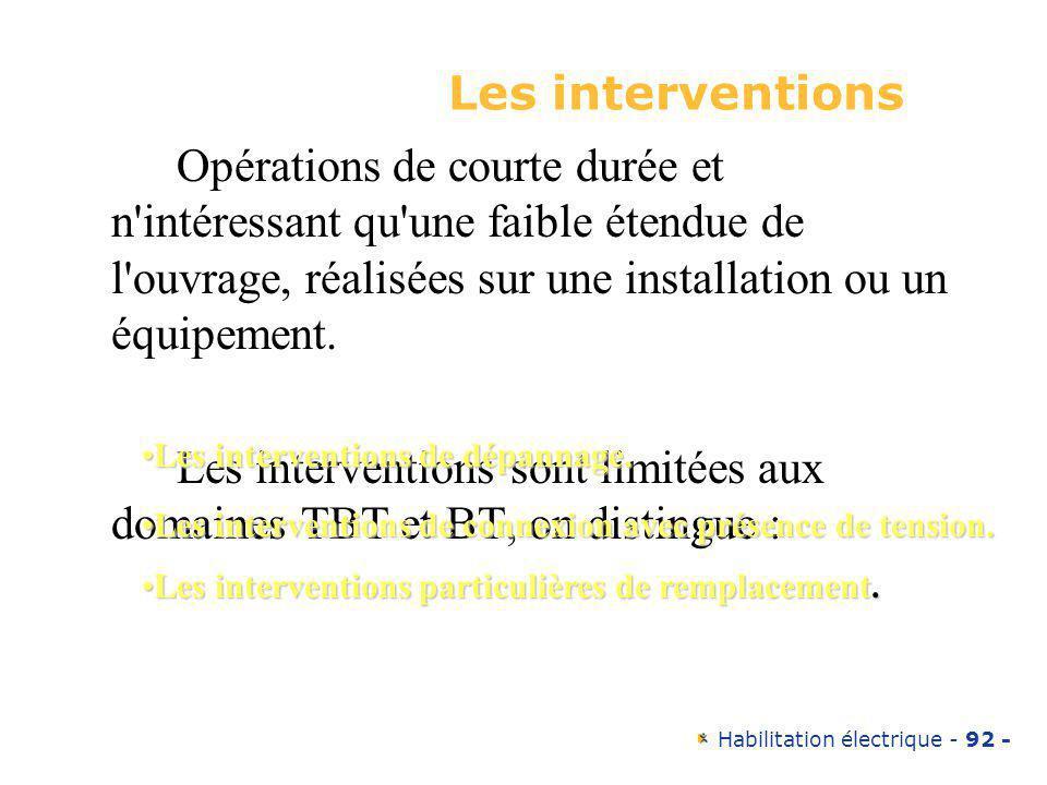 Les interventions sont limitées aux domaines TBT et BT, on distingue :