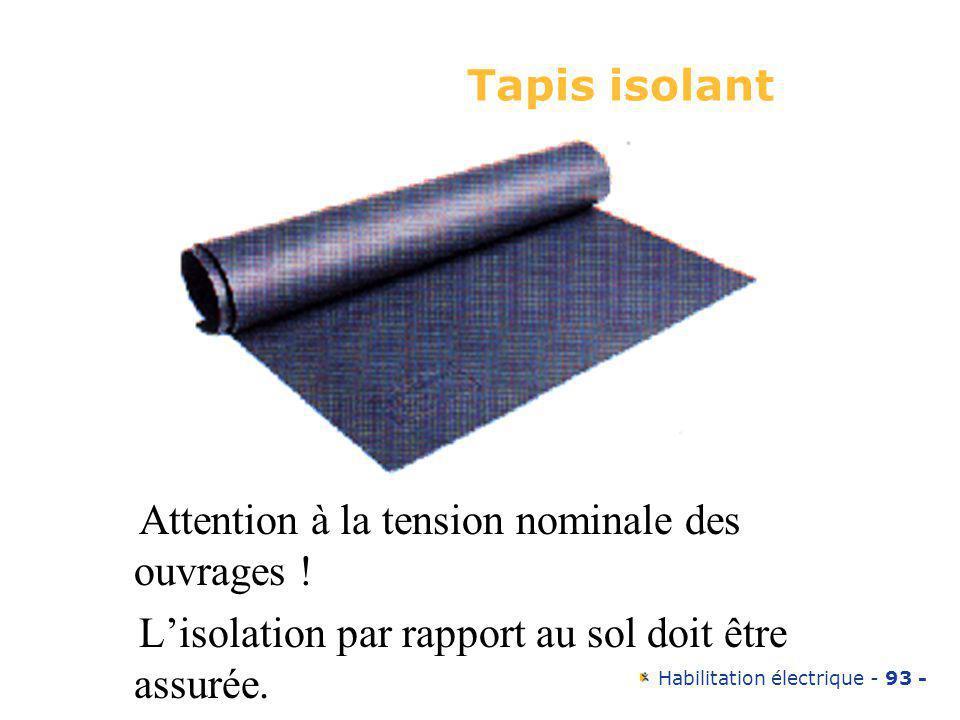 Tapis isolant Attention à la tension nominale des ouvrages ! L'isolation par rapport au sol doit être assurée.
