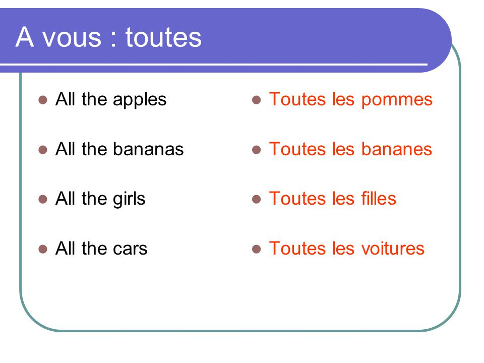 A vous : toutes All the apples All the bananas All the girls