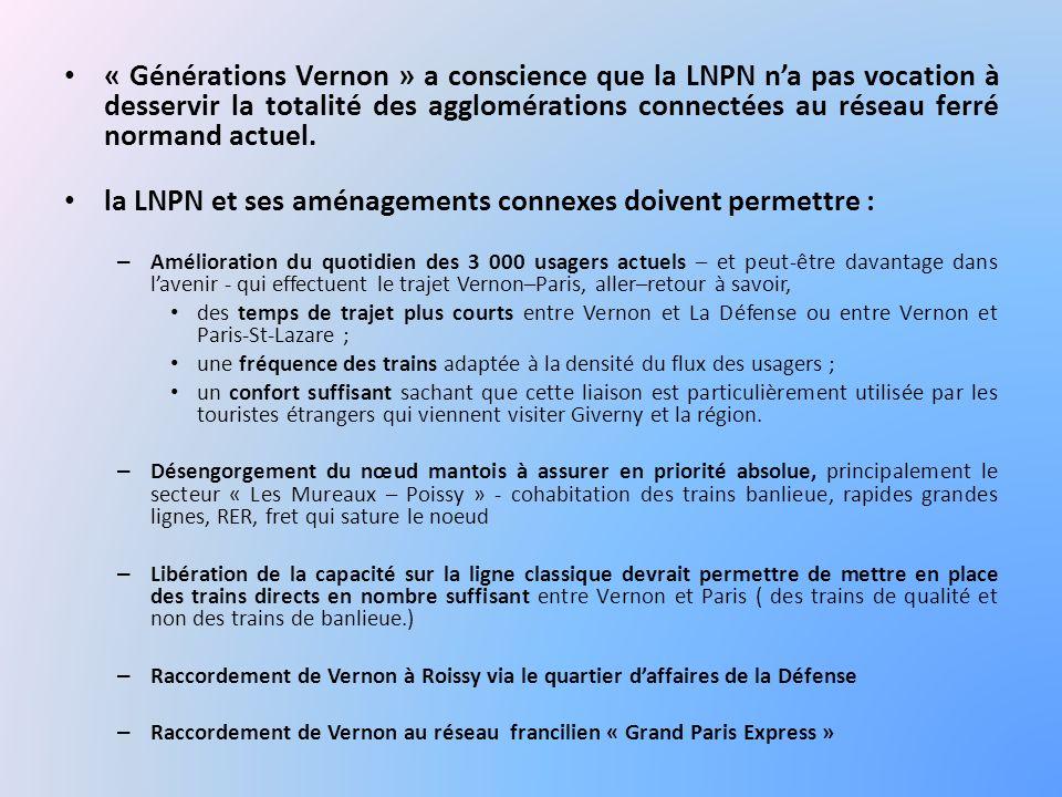« Générations Vernon » a conscience que la LNPN n'a pas vocation à desservir la totalité des agglomérations connectées au réseau ferré normand actuel.