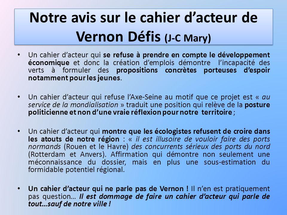 Notre avis sur le cahier d'acteur de Vernon Défis (J-C Mary)