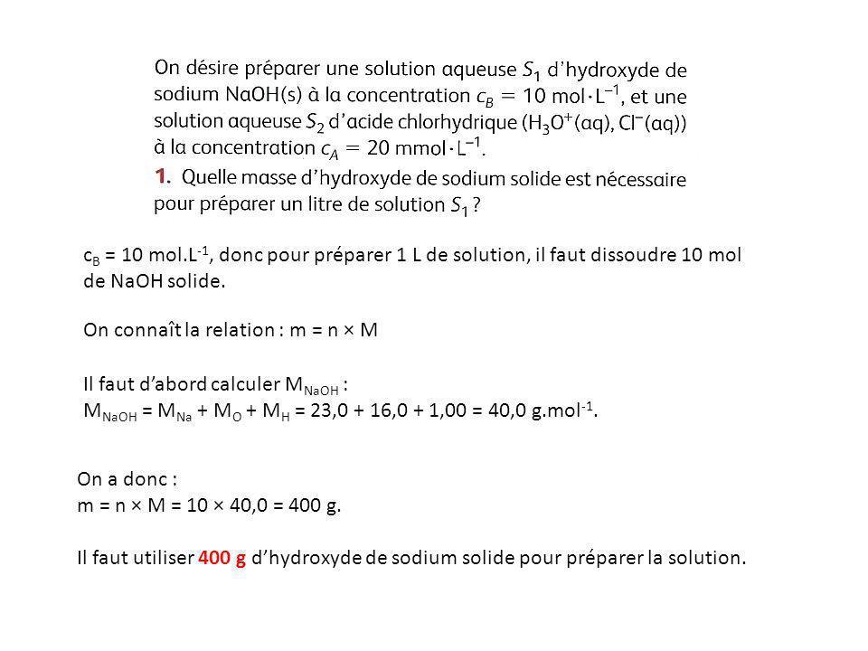 cB = 10 mol.L-1, donc pour préparer 1 L de solution, il faut dissoudre 10 mol de NaOH solide.