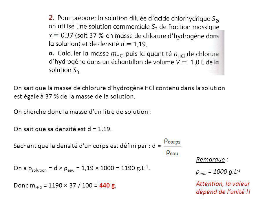 On sait que la masse de chlorure d'hydrogène HCl contenu dans la solution est égale à 37 % de la masse de la solution.