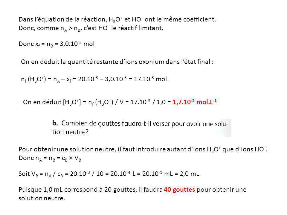 Dans l'équation de la réaction, H3O+ et HO- ont le même coefficient.