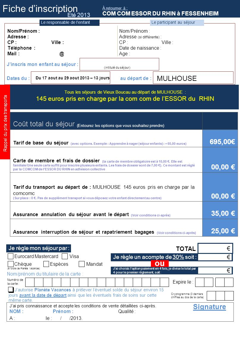 Fiche d'inscription ou 