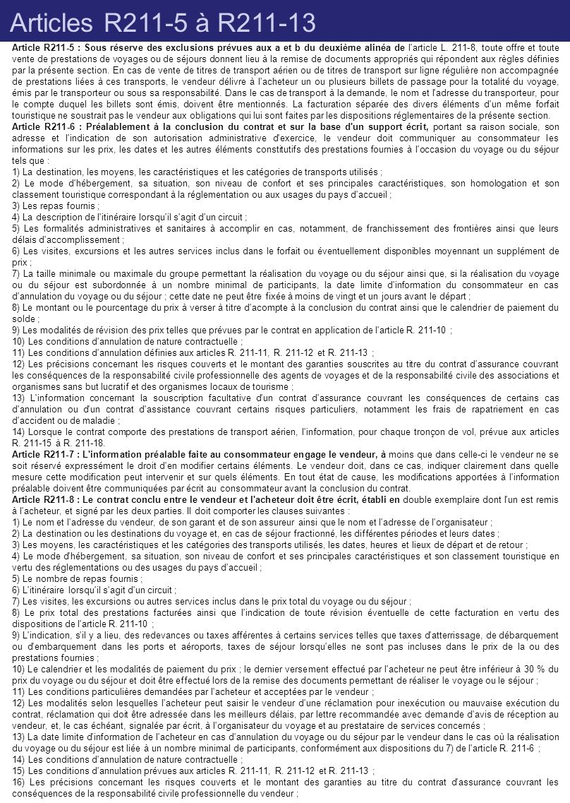 Articles R211-5 à R211-13