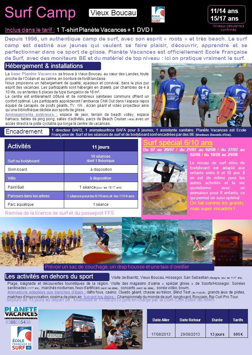 Surf Camp Vieux Boucau Surf spécial 6/10 ans 11/14 ans 15/17 ans