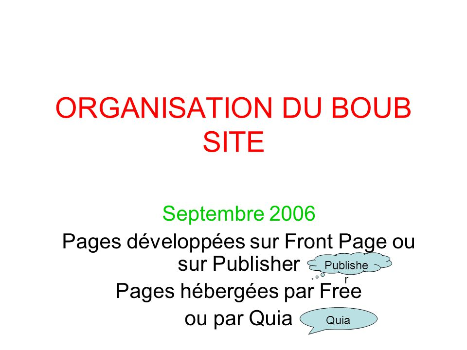 ORGANISATION DU BOUB SITE