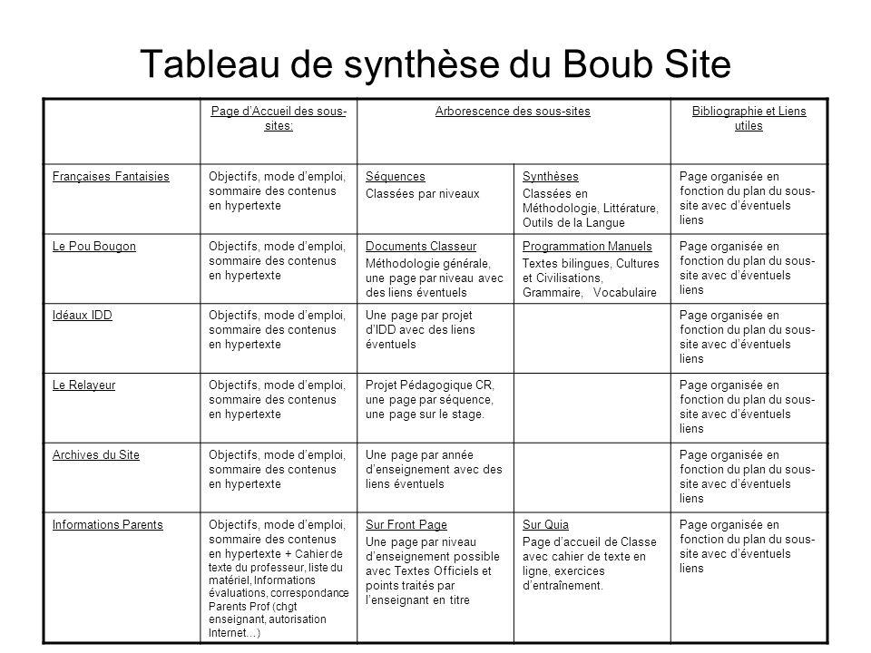 Tableau de synthèse du Boub Site