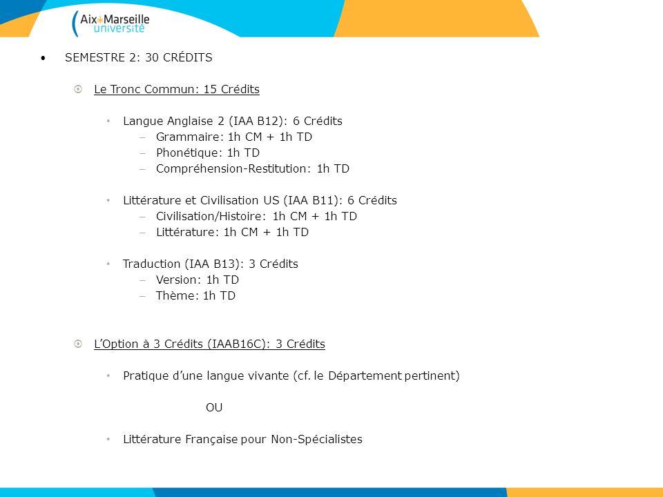 SEMESTRE 2: 30 CRÉDITS Le Tronc Commun: 15 Crédits. Langue Anglaise 2 (IAA B12): 6 Crédits. Grammaire: 1h CM + 1h TD.