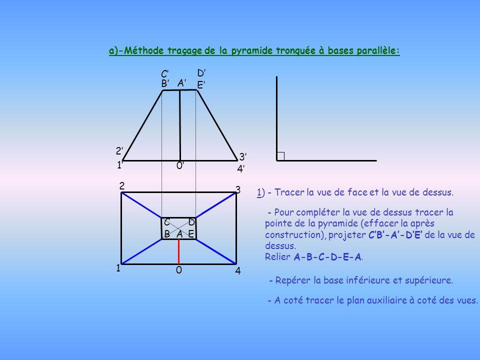 a)-Méthode traçage de la pyramide tronquée à bases parallèle: