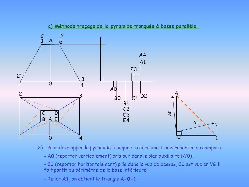 c) Méthode traçage de la pyramide tronquée à bases parallèle :