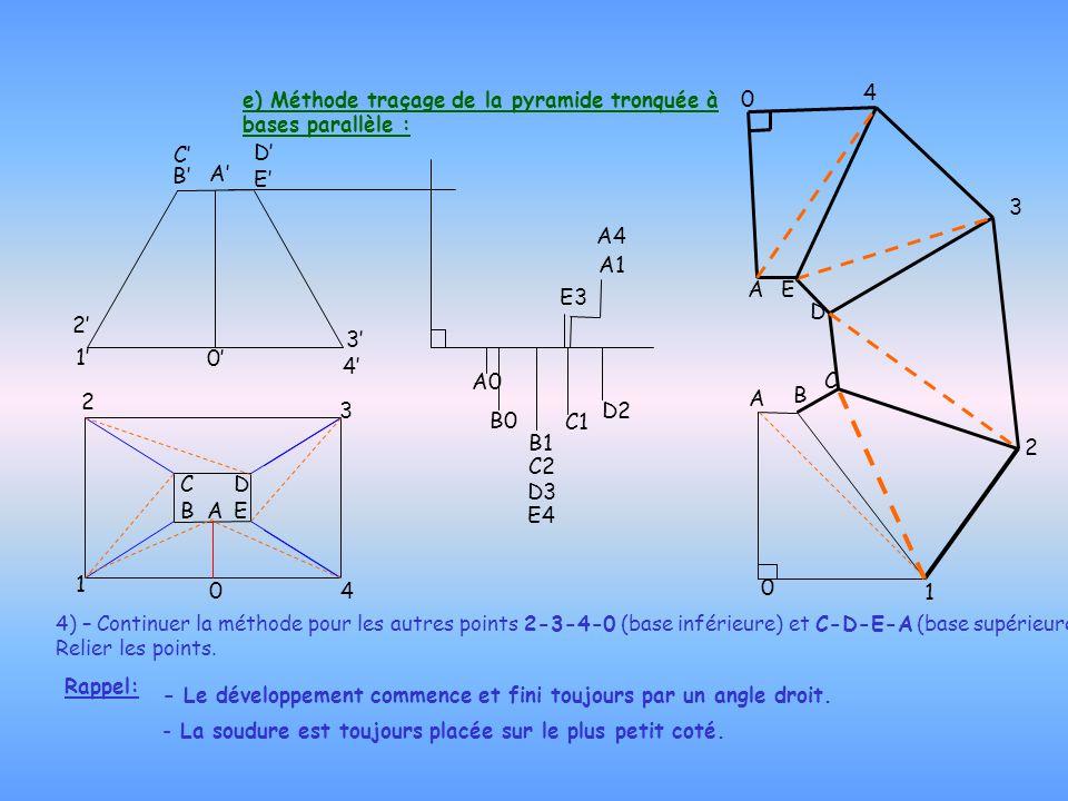 e) Méthode traçage de la pyramide tronquée à bases parallèle :