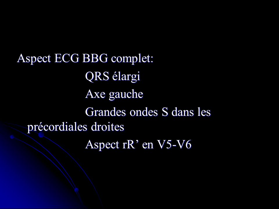 Aspect ECG BBG complet: