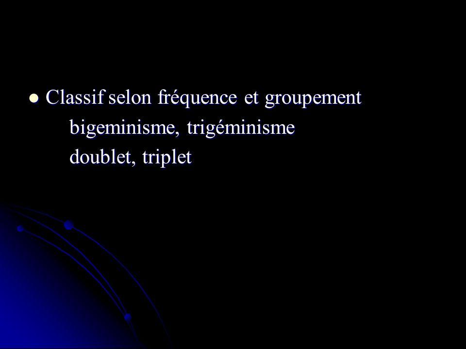 Classif selon fréquence et groupement