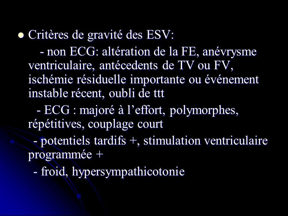 Critères de gravité des ESV: